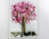 Fused Glass Cherry Blossom Tree Serving Board - Spoon Rest - Glass Art - Decorative Plate - Pink Decor - Nature Decor
