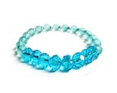 50% SALE,  Gifts For Women - Turquoise Swarovski Crystal And Light Blue Lustre Stretch Bracelet - One Of A Kind Handmade Jewellery