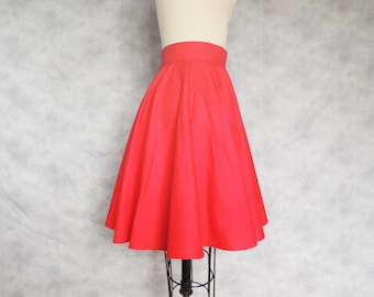 Red Circle Skirt - Full, Swing Dancing, High Waisted, Knee Length, Cotton, Twirly