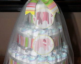 Elephant diaper cake for baby shower or new parent, custom options available
