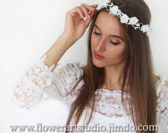 White Bridal Headpiece White Bridal Flower Crown Feminine Floral Crown Flower Girl Hair Wreath Flowergirl flower crown