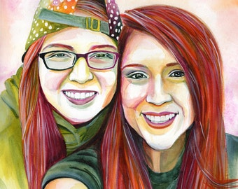 LESBIAN custom watercolor PORTRAIT, Gay Marriage Wedding Anniversary Gifts, LGBT Art, Special gift from girlfriend to girlfriend, wifey art