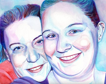 LESBIAN COUPLE watercolor PORTRAIT - Lesbian wedding anniversary special gift for lesbian girlfriend, gift for gay wedding anniversary