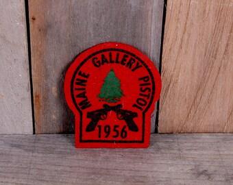 1956 Maine Gallery Pistol Championship Red Felt Pine Tree Patch