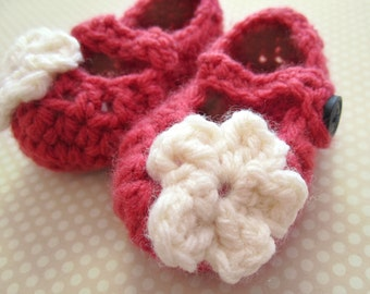Crochet Baby Girl Mary Janes, Coral Baby Shoes, Baby Booties, 0-3 Months, READY TO SHIP