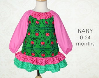 Baby sewing pattern PDF, baby dress pattern, baby peasant dress pattern, baby girls sewing pattern pdf, childrens sewing pattern, PEGGY baby
