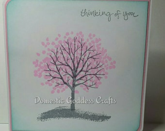 Thinking Of You Embossed Handmade Pink Blossom Tree Card.Blank inside for your own message.
