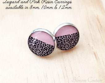 Pink and Leopard Resin Silver Post Earrings 12mm