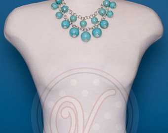 Turquoise drop wire wrapped 2 Strand Cascade Necklace