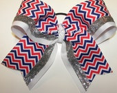 Patriotic Big Cheer Bow Chevron Red White Blue USA Ribbon Ponytail Girls Accessories Cheerleader Softball Volleyball Soccer Team Bulk Lot