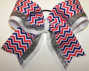 Patriotic Cheer Bow, Big Ponytail Cheerbow, US Red White Blue Colors Hairbow, Patriots Cheerleader Bows, Softball Hairbows, Volleyball Clip