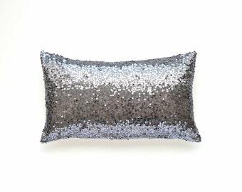 silver sequin pillow etsy. Black Bedroom Furniture Sets. Home Design Ideas