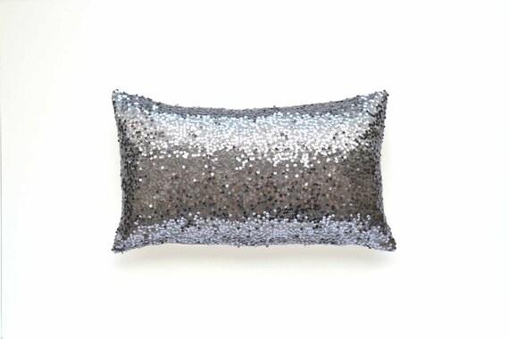 Gray Lumbar Pillow Cover Gunmetal Silver Sequin 12 X