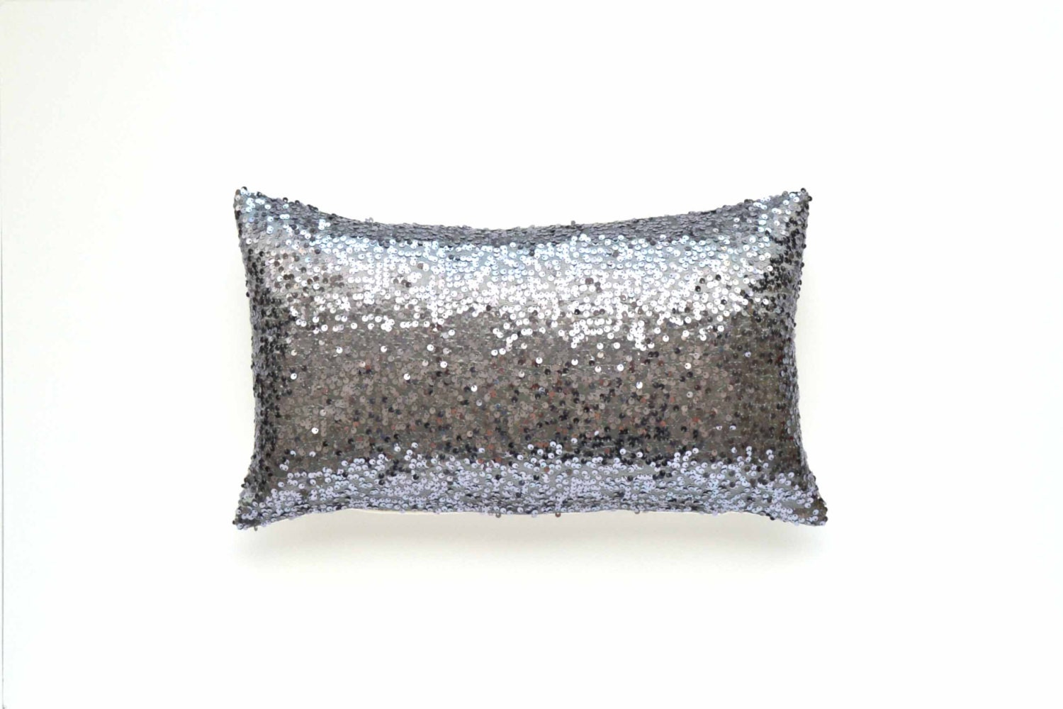 Decorative Pillows With Sequins : Gray Lumbar Pillow Cover - Gunmetal Silver Sequin - 12 x 20 - Decorative Pillow, Throw Pillow ...