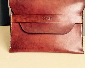 Leather document case. Veg tan leather.