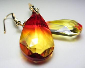 Swarovski Yellow Honey Red Earrings Orange Crystal Dangle Drop Earrings Golden Amber Earrings Fire Opal Teardrop Gift for her