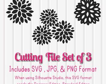 SVG Files Set of 3 Lotus Flowers--SVG PNG jpg Format-flower svg lotus svg daisy svg cutting files