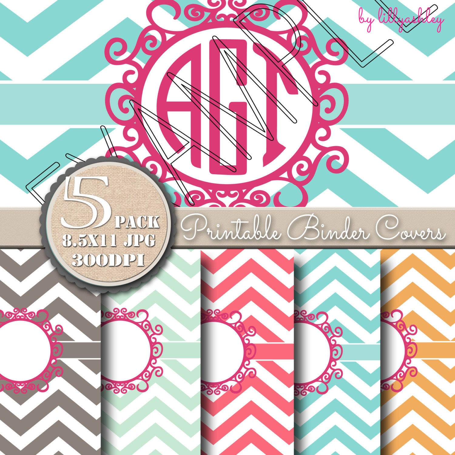 Binder Covers 5Pack Printables With Matching Backings 8.5x11