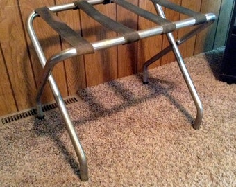 Vintage Folding Luggage Suitcase Stand - From Old Closed Roadside Motel - Metal with Webbing - Eldorado Illinois