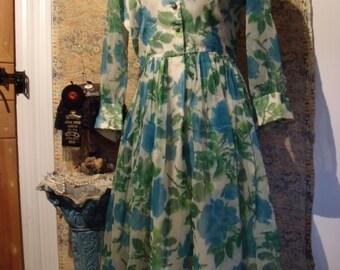 1950s Blue Roses Chiffon Day Dress Gauzy Watercolor Print