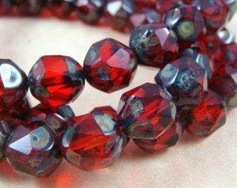 Czech Beads, Czech Glass Beads, Picasso Beads - Ruby Red Glass Beads (CEN/N-0827) - Central Cut Irregular Rounds - 10x8mm - Qty 10