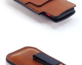 Brown iPhone 6 Holster with Card Pocket, Rotating Belt Clip