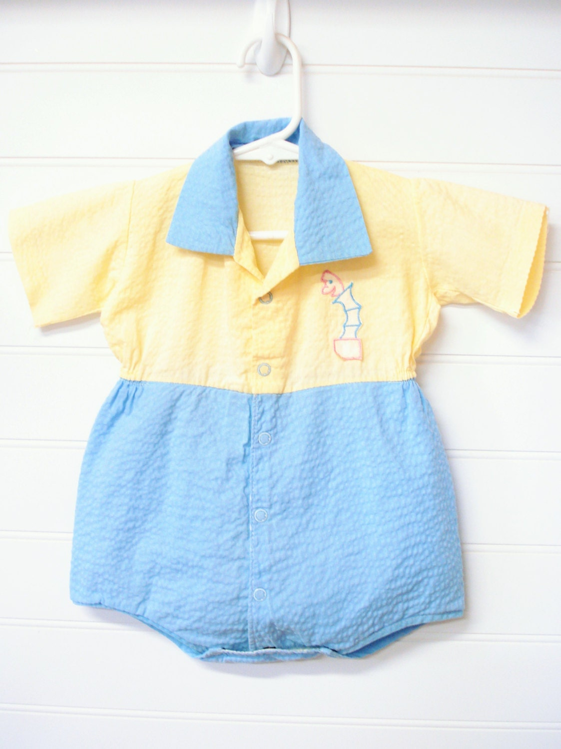 vintage baby clothes baby boy romper yellow blue baby