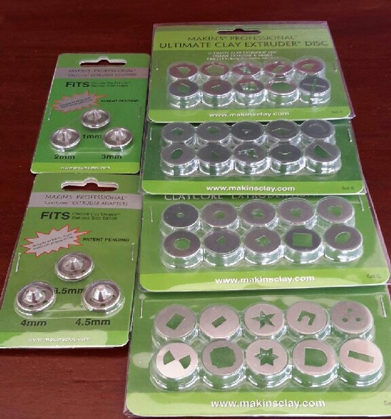 Brand NEW Full 46 piece collection of Makin's extruder disc & clay core adaptors including the just released set D