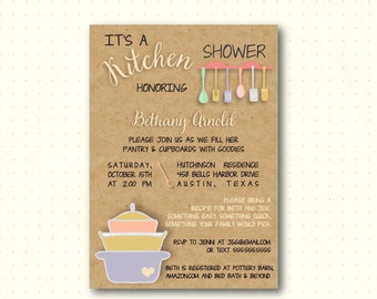 Bridal Shower Invitation, kitchen, couples shower, pots pans shower, stock the kitchen, simple, modern, digital, printable invite BW22851