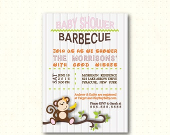 Baby Shower Barbecue, girl, pink, monkey, men's baby shower, bbq, dad's shower, couples baby shower, digital, printable invite B4081 Girl