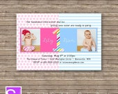 Printable Twin 1st Birthday Party Invitation