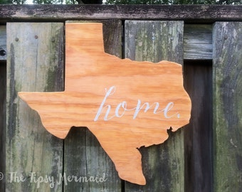 "Custom Made Texas Shape ""Home"" Hand-Made Wooden Sign - Choose Your Stain & Wording Color"