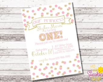 Pink and Gold Birthday Invitation | Confetti Party Invitation | 1st 2nd Any Age Birthday | Girl's Birthday | Glitter | Princess | Digital