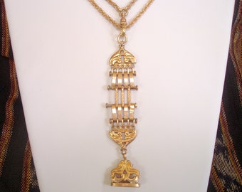 Antique Gold Necklace - Victorian Gold Filled Watch Chain Necklace with Dog Clip and Engraved Wax Seal Fob