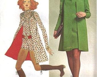 70s MINI JUMPSUIT Vest and Mini Dress Pattern Funnel Neck Romper Simplicity 9664 Vintage Sewing Pattern UNCUT Bust 38