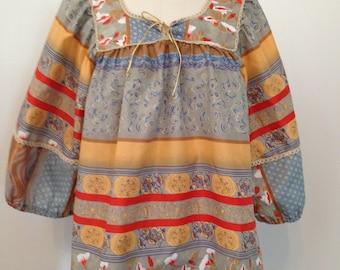 Vintage 1970's A Little More California billowy hippie era blouse shirt tunic L