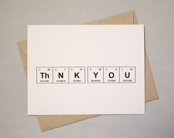 "Thank You Chemistry Card Set, Periodic Table of the Elements ""ThNK YOU"" Card (set of 6) / Sentimental Elements / Gift for Teacher"