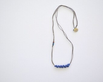 Blue long necklace, simple elegant necklace, natural jewelry, bohemian necklace, everyday necklace, thin necklace, boho pendant