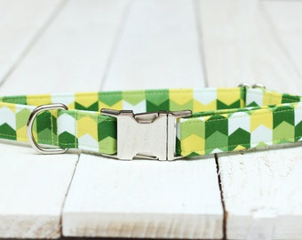 Male Dog Collar, Lime Green Arrows, White, Lemon, Yellow, Boy with Metal Buckle