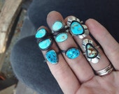 SALE // Small Turquoise Ring // Midi ring  // Stack ring // Size 8.25 // Skyline Turquoise  // Sterling Silver
