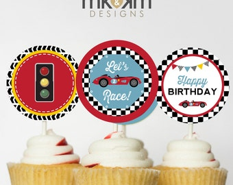 Car Cupcake Toppers, Race Car Party Decor, Boys Car Birthday, Vintage Racing Party, Boy Birthday Decor, INSTANT DOWNLOAD, #53
