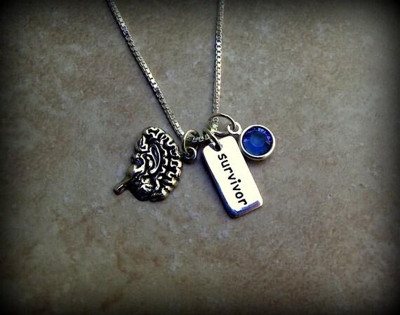 Sterling silver lifelike brain necklace, birthstone necklace, medical survival necklace, anatomical brain, psychology major