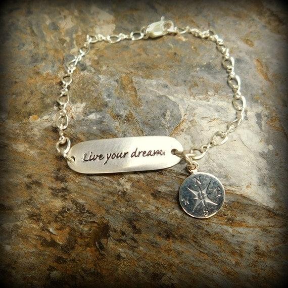 Sterling silver bracelet, live your dream bracelet, graduation gift, compass bracelelet