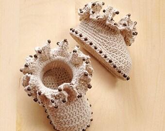 Crochet Ruffled Coral Baby Booties Pattern Newborn Boots Preemie Shoes Crochet Pattern (CB03-M-PAT)