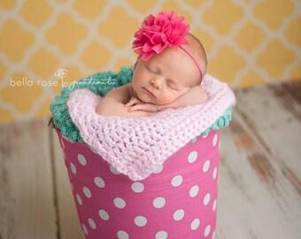 Hot Pink Headband, Newborn Pink Headband, Newborn Photo Prop, Baby Girl Prop, Newborn Headband, Flower Girl Headband