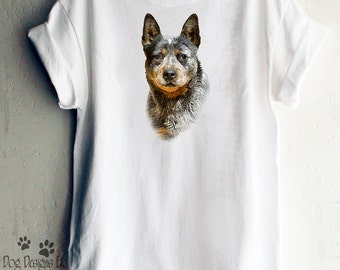Australian Cattle Dog 100% Preshrunk Unisex Cotton T Shirt that can be Personalized