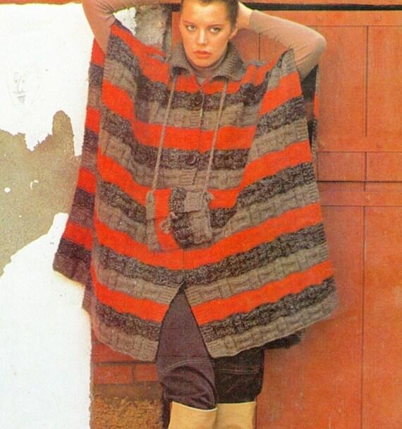 Poncho KNITTING PATTERN Kimono Vintage Sweater Boho Afghan