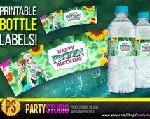 Frozen Bottle Labels - Disney Frozen Fever Water Bottle Labels - Birthday Party Printable Label of Elsa, Anna, Decorations Ideas, Party