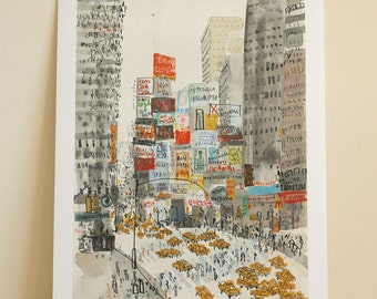 TIMES SQUARE ART New York City Print, Taxis, Manhattan Watercolor, Signed Limited Edition Giclee print, Skyscraper Drawing, Clare Caulfield
