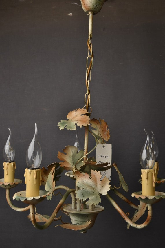 Beautiful painted toleware chandelier with leaves